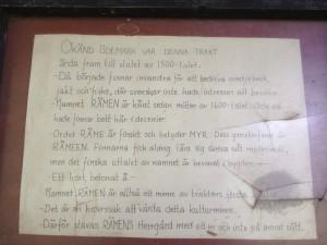 Handskriven skylt om Rämens bakgrund